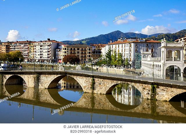 Naparzubia bridge, Oria river, Tolosa, Gipuzkoa, Basque Country, Spain, Europe
