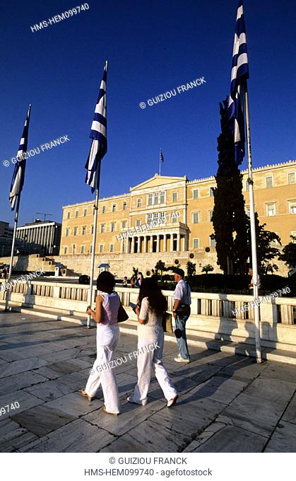 Greece, Athens, the Parliament (ex Royal Palace) on Syndagma square