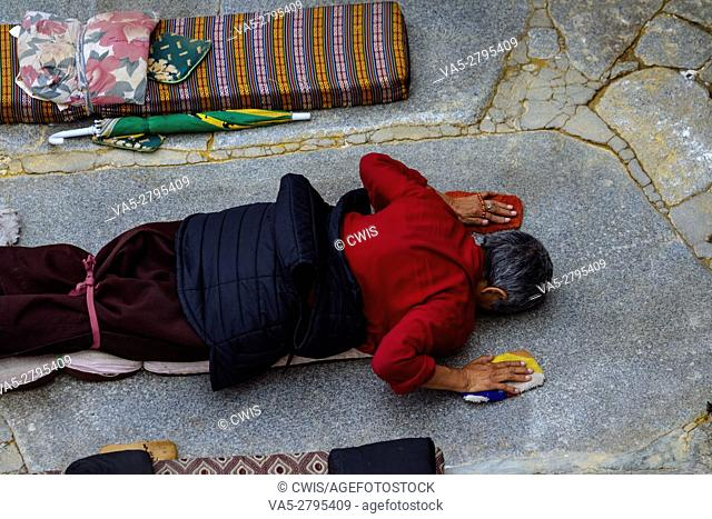 Lhasa, Tibet - The view of many Pilgrims at the Jokhang Temple Square in the daytime