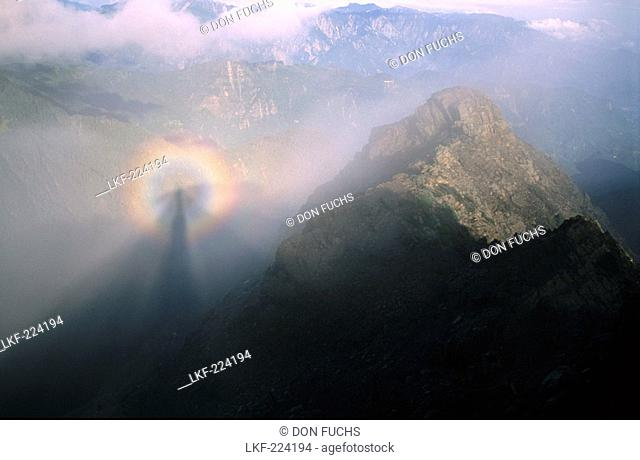 View from the main peak at Yushan mountains in the mist, Yushan National Park, Taiwan, Asia