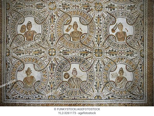 Pictures of a Roman mosaics design depicting the nine muses, from the Maison du Mois, ancient Roman city of Thysdrus. 2nd half of 3rd century AD
