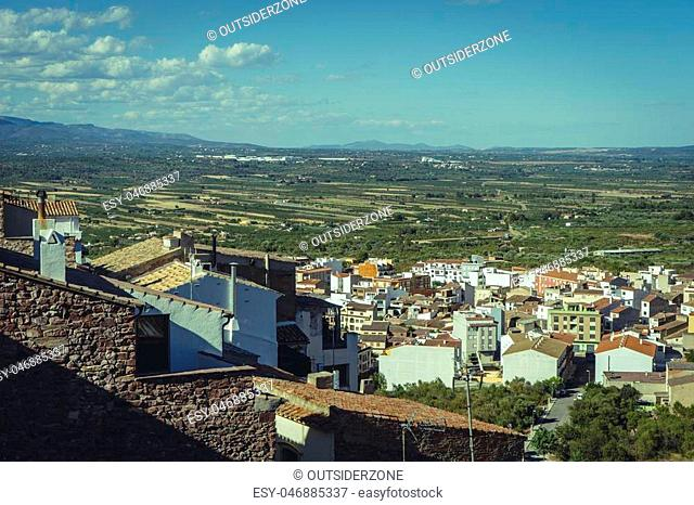 Aerial view of white houses and clay tiles, Villafamés rural villa in Castellon, Valencia region in Spain