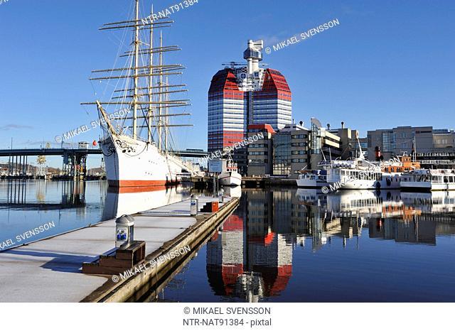 Harbor with schooner