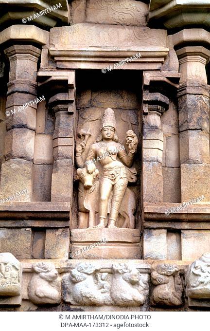 Ardhanarishvara with bull on wall of Brihadeshwara temple , Gangaikonda Cholapuram , Tamil Nadu , India
