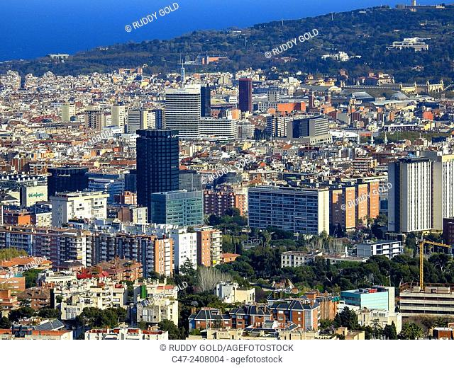 Diagonal area near Plaza Maria Cristina. Barcelona, Catalonia, Spain