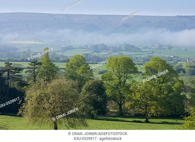 The Yeo Valley and Black Down on The Mendip Hills beyond on a spring morning near Wrington, North Somerset, England