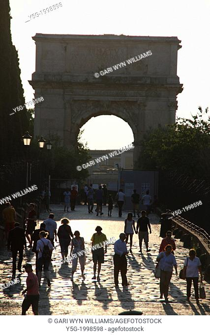 arch of titus and the via sacra in rome italy
