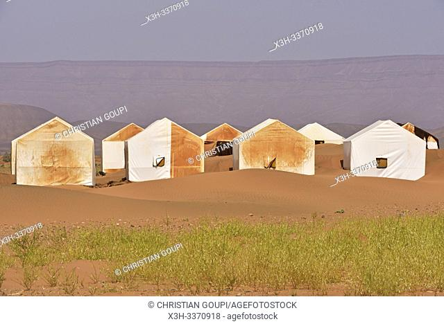 deserted camp near the sand dunes at Tinfou, near Tamegroute, Draa River valley, Province of Zagora, Region Draa-Tafilalet, Morocco, North West Africa