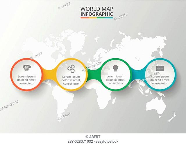Vector world map with infographic elements. Template for diagram, graph, presentation. Business concept with 4 options, parts, steps or processes