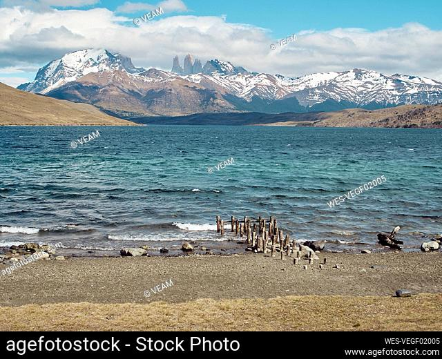 Scenic view of Torres del Paine Mountains from the Laguna Azul Laguna Azul, Torres del Paine National Park, Chile