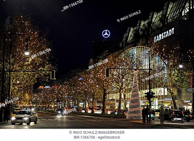 Festively lit Kurfuerstendamm avenue, Berlin, Germany, Europe