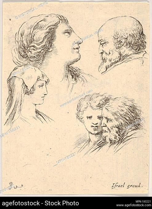 Plate 9: five heads, two young women at left, a bearded man at upper right, a young woman and a bearded man at bottom right