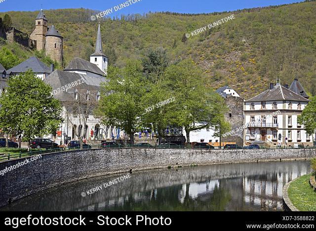Europe, Luxembourg, Esch-sur-Sure, Esch-sur-Sûre, Views of River Sûre and Village Centre
