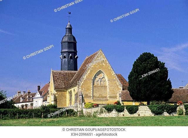 Church of Saint-Cyr-et-Sainte-Julitte at Saint-Cyr-la-Rosiere, Regional Natural Park of Perche, Orne department, Lower Normandy region, France, Western Europe