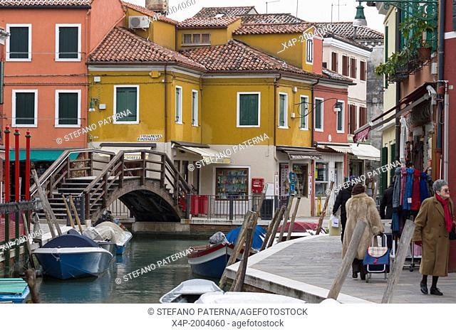 Colorful Buildings and Facades, Burano Island, Venice, Italy