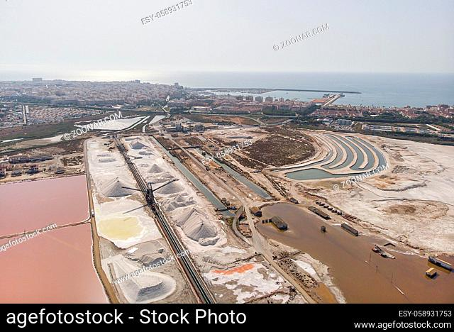 Panoramic aerial view of Torrevieja cityscape. Salt production factory, Mediterranean Sea, coastal city. Costa Blanca. Alicante, south of Spain