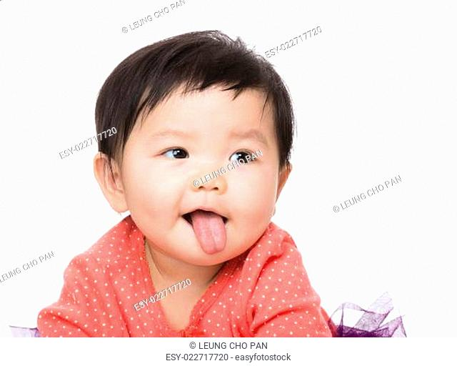 Baby with tongue sticking out