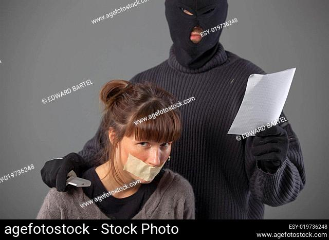 hijacker with hostage