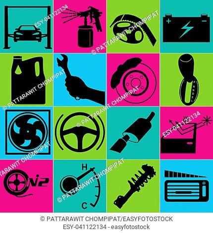Car fix service sign color set. Vector design