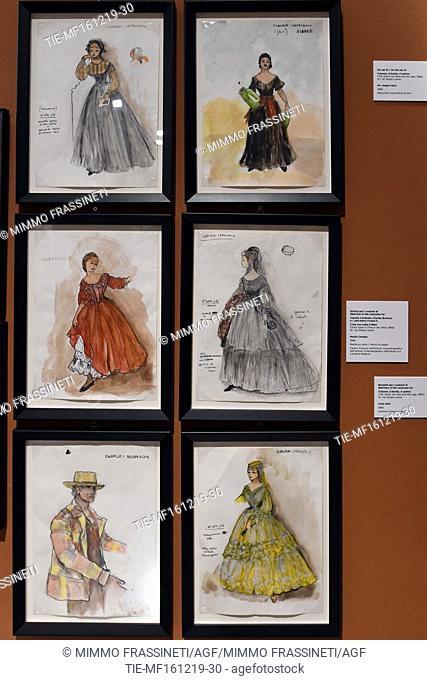 Costumes for the movie ' C'era una volta il West ', 1968 at Ara Pacis Museum in Rome, ITALY-16-12-2019