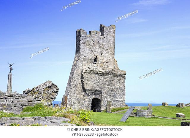 Castle ruins with War Memorial in Aberystwyth Ceredigion Wales UK