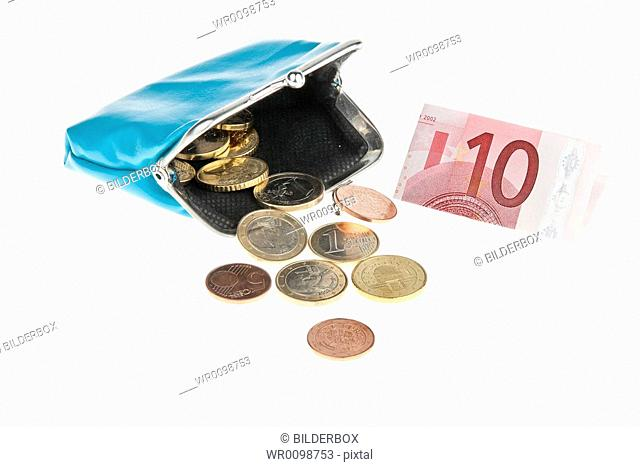 A purse with euro notes and coins