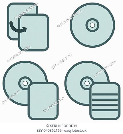 Symbol data processing grey icon set