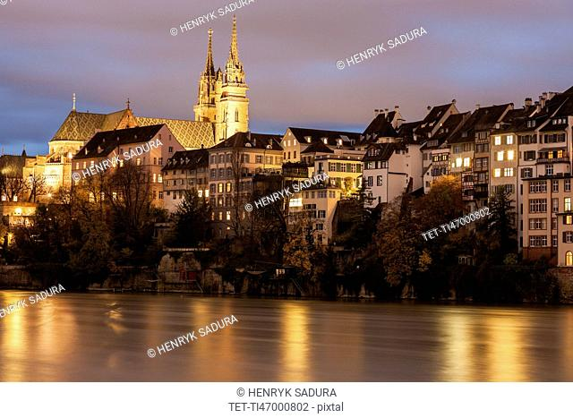 Basel Minster and Rhine River