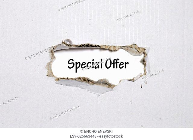 The word special offer appearing behind torn paper