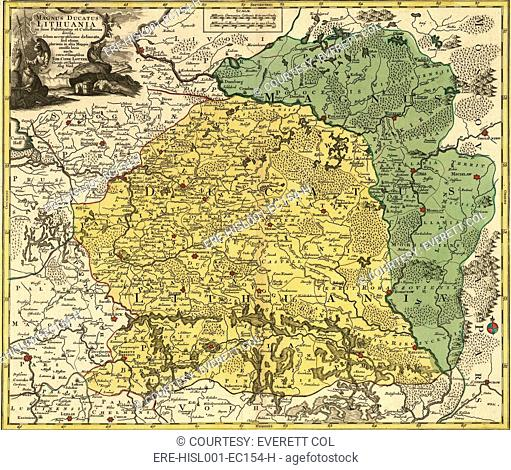18th century map of Lithuania, then a Commonwealth of Two Peoples formed in 1569 with Poland to resist the power of Russia