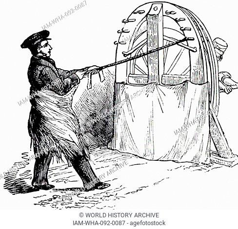 The manufacture of rope: here rope is being spun from heckled hemp carried round the spinner's waist. A few fibres were attached to the spinning wheel at one...