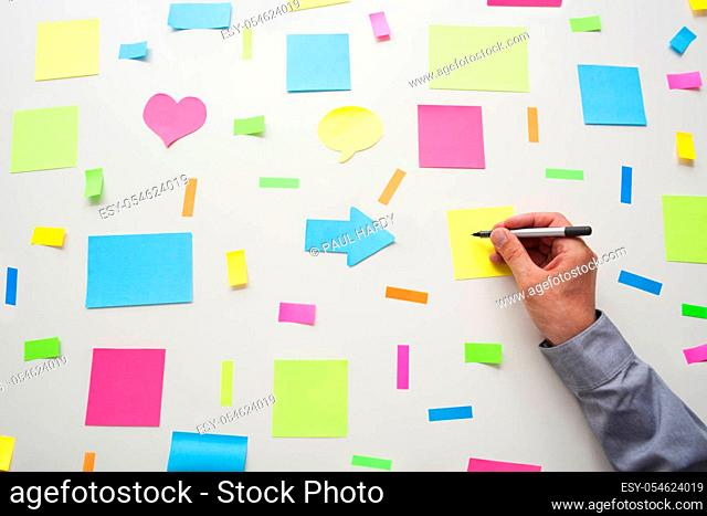 Businessman writing onto a post it note, surrounded by assorted post it notes on a wall