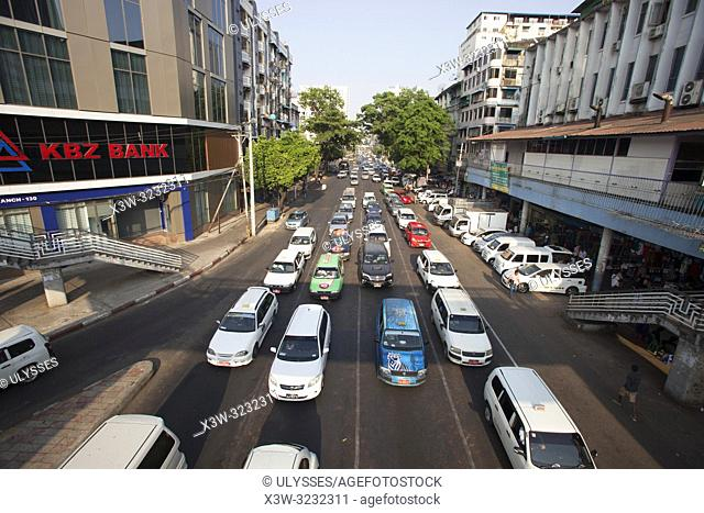 Traffic on the Anawrahta Road, city center, Yangon, Myanmar, Asia