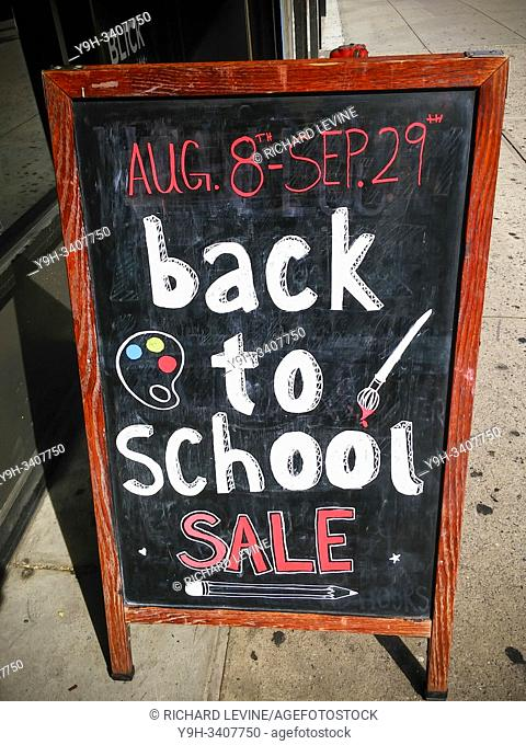 Back-to-school sales are promoted outside a store in the Chelsea neighborhood of New York on Monday, August 5, 2019. The National Retail Federation has...