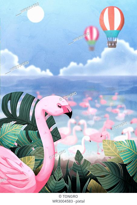 Flamingos and tropical leaves against air-hot balloons in sky
