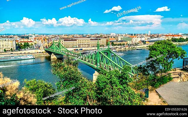 Liberty bridge on Danube river in Budapest, view from above