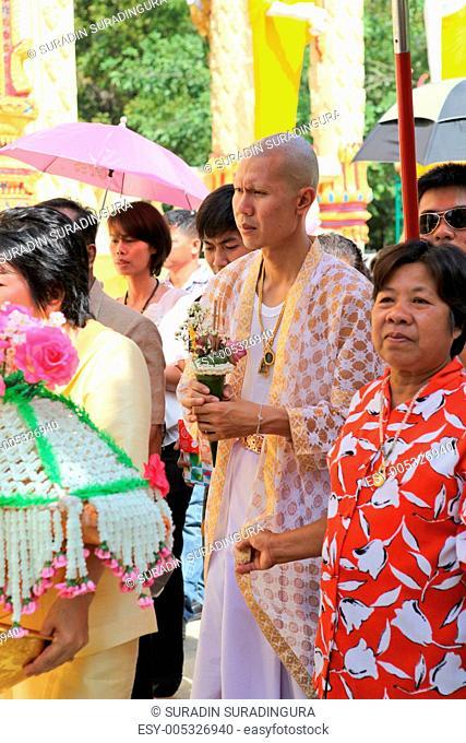 LOPBURI - NOVEMBER 19. Newly ordained Buddhist monks walking aro