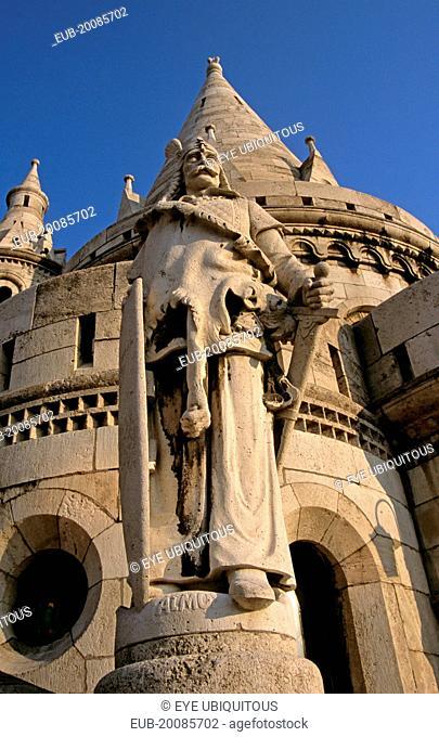 Castle Hill District, Trinity Square, Fishermens Bastion, Saint Stephens (Szent Istvan) statue