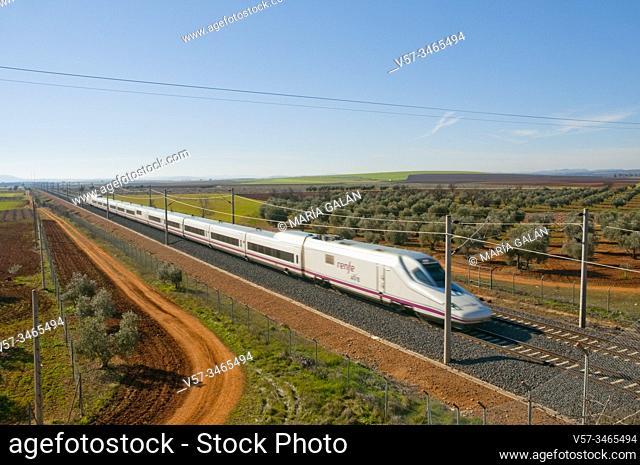 AVE high-speed train traveling along La Mancha. Ciudad Real province, Castilla La Mancha, Spain
