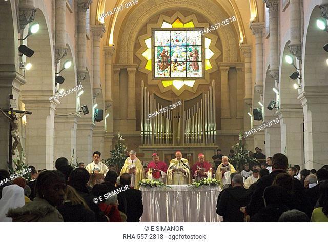 Latin Patriarch, Michel Sabah, celebrating the Pontifical Vespers on Christmas Eve 2005, St. Catherine church, Basilica of the Nativity, Bethlehem, Israel