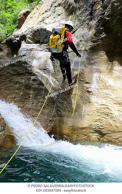 Canyoning in Gorgol Canyon, Tena Valley, Pyrenees, Huesca Province, Aragon, Spain