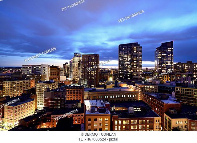 Massachusetts, Boston, Downtown district at dusk