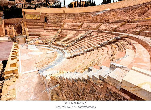 Cartagena Roman Amphitheater in Murcia at Spain