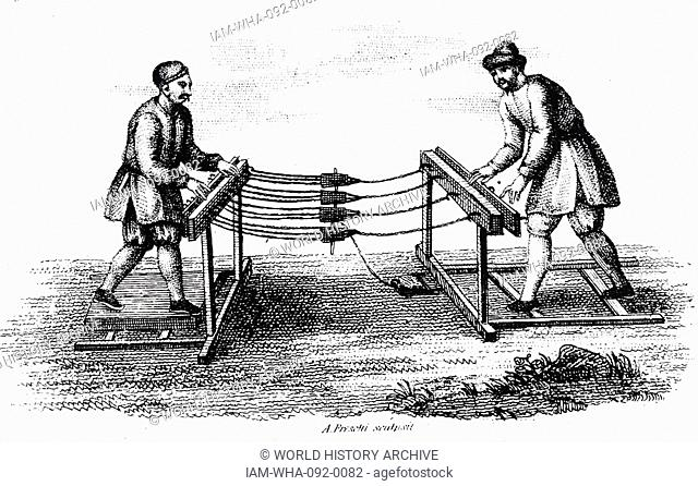 Illustration show's two Chinese male figures standing at either of a device, used to make rope. Dated 1812