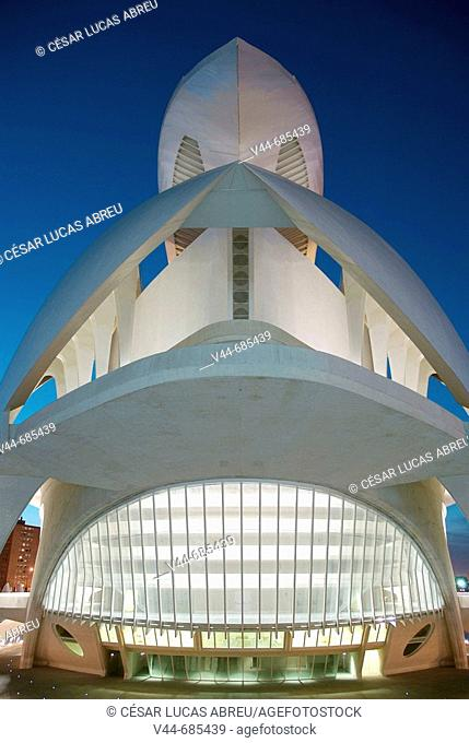 The Palau de les Arts Reina Sofia. City of Arts and Sciences. Valencia, Spain