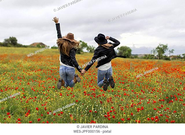 Two woman jumping, poppy field, holding hand