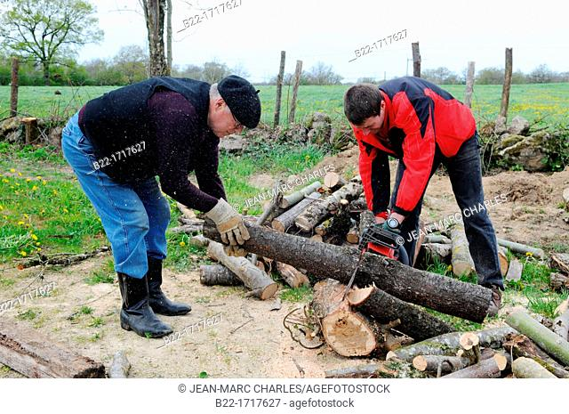 Volunteers making works of land clearing, way of Saint-James, el camino de Santiago, chemin de Saint-Jacques-de-Compostelle, La Bessière, Campuac, Aveyron