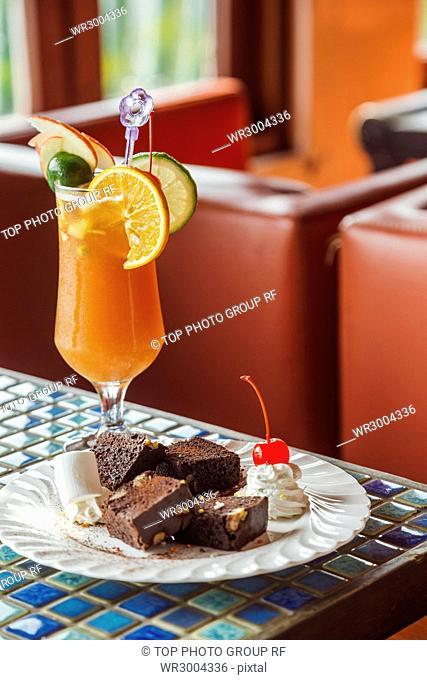 chocolate Brownie and kumquat lemon