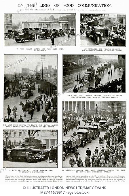 General strike in 1926 called for emergency measures, armoured vehicles and troops in a convoy through the streetscarrying much need food