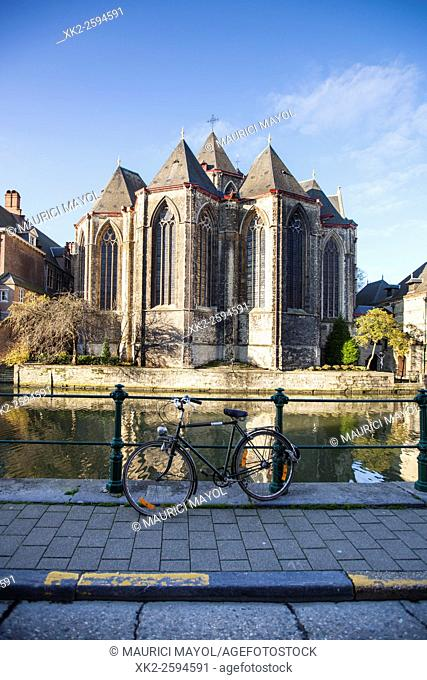Sint-Michielskerk with bike, Ghent, Belgium